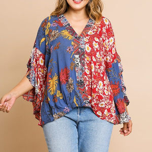 Umgee mix print boho ruffle sleeve top